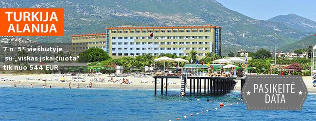 """Praleiskite šeimos atostogas kalno papėdėje prie jūros Alanijos regione TURKIJOJE! Savaitės poilsis labai gerame 5* viešbutyje su """"viskas įskaičiuota"""" - tik nuo 400 EUR! Kelionės data: 2018 m. rugpjūčio 30 d."""