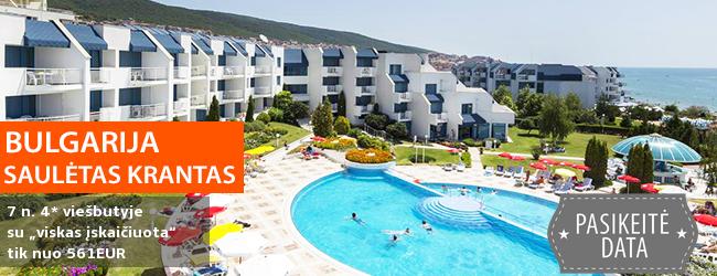 """Mėgaukitės puikiomis atostogomis prie jūros Saulėtame krante BULGARIJOJE! Savaitės poilsis jaukame 4* viešbutyje su """"viskas įskaičiuota"""" - tik nuo 387 EUR, o keliaujant su vaiku - 360 EUR! Data: 2017 m. gegužės 17 d."""