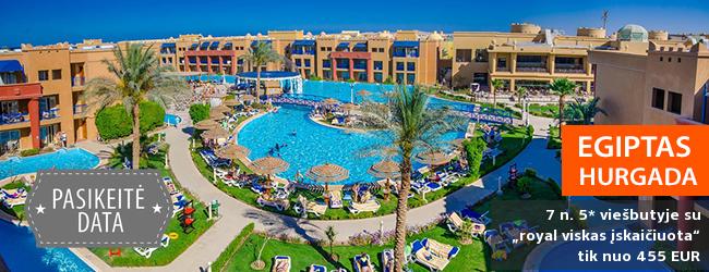 """Pramogos ir malonumai Hurgados kurorte EGIPTE! Savaitė daug baseinų turinčiame 5* viešbutyje su  """"royal viskas įskaičiuota"""" - tik nuo 412 EUR! Kelionės data: 2018 m. sausio 20 d."""