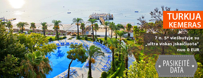 """Norintiems komforto ir pramogų: turiningai praleiskite atostogas TURKIJOJE, Kemere! Savaitė gerame 5* viešbutyje ant jūros kranto su """"ultra viskas įskaičiuota"""" - nuo 401 EUR! Kelionės data: 2018 m. balandžio 11 d."""