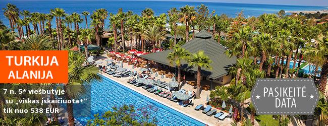 """Šeimos atostogos ant jūros kranto Alanijos regione TURKIJOJE! Savaitės poilsis palmių apsuptyje įsikūrusiame 5* viešbutyje su """"viskas įskaičiuota+"""" - tik nuo 418 EUR! Kelionės data: 2018 m. liepos 28 d."""