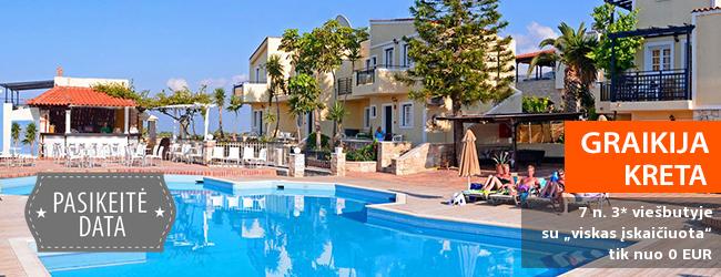 """Praleiskite atostogas žavingoje KRETOS saloje! Savaitės atostogos jaukiame ir turistų pamėgtame 3* viešbutyje su """"viskas įskaičiuota"""" - vos nuo 308 EUR! Kelionės data: 2018 m. rugsėjo 26 d."""