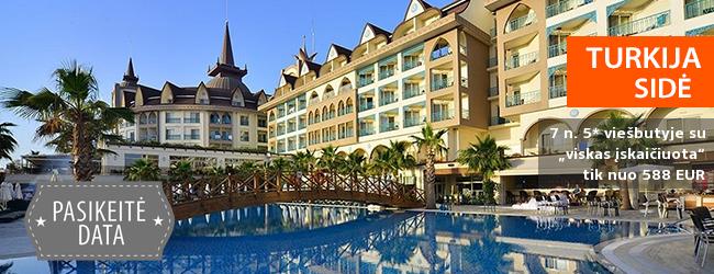 """Nepamirštamos atostogos Sidės regione TURKIJOJE! Savaitės poilsis naujame 5* viešbutyje su """"viskas įskaičiuota"""" - tik nuo 458 EUR! Kelionės data: 2018 m. gegužės 30 d."""