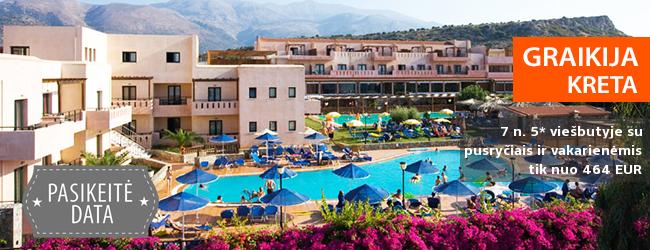 Kokybiškos pavasario atostogos žavingoje KRETOS saloje! Savaitė su šeima labai gerai vertinamame 5* viešbutyje su pusryčiais ir vakarienėmis - vos nuo 412 EUR! Data: 2018 m. spalio 18 d.