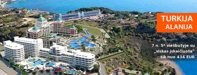 """Vaizdingos atostogos su šeima Alanijos regione TURKIJOJE! Savaitės poilsis naujame ir elegantiškame 5* viešbutyje su """"viskas įskaičiuota"""" - tik nuo 318 EUR! Kelionės data: 2017 m. balandžio 18 d. ir kitos datos"""