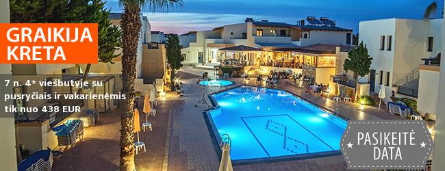 Praleiskite pavasario atostogas Kretos saloje GRAIKIJOJE! Savaitės poilsis jaukiame 4* viešbutyje su pusryčiais ir vakarienėmis - tik nuo 379 EUR! Kelionės data: 2017 m. gegužės 4 d. ir kitos datos