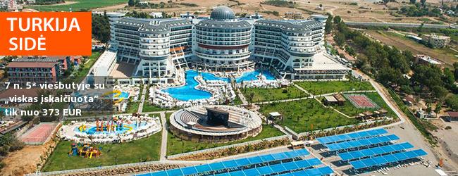 """Atostogos prie jūros Sidės regione TURKIJOJE! Savaitės poilsis su šeima gausybę pramogų siūlančiame 5* viešbutyje su """"viskas įskaičiuota"""" - tik nuo 362 EUR! Kelionės data: 2019 m. balandžio 3 d."""