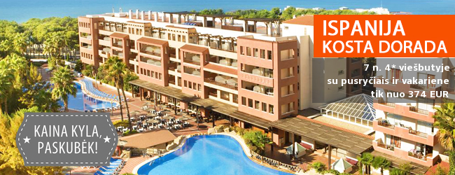 Poilsis su šeima ISPANIJOJE, viename geriausių Salou kurorto viešbučių! Savaitė turistų pamėgtame 4* viešbutyje su pusryčiais ir vakarienėmis - nuo 397 EUR! Kelionės data: 2018 m. rugsėjo 30 d.