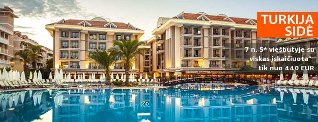 """Elegantiškos atostogos Turkijoje! Savaitės poilsis turistų labai gerai vertinamame 5* viešbutyje su """"viskas įskaičiuota"""" - tik nuo 362 EUR! Kelionės pradžia: 2019 m. balandžio 7 d."""