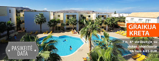 """Praleiskite atostogas su šeima saulėtoje KRETOJE! Savaitė 4* viešbutyje GOUVES WATER PARK HOLIDAY RESORT su  """"viskas įskaičiuota"""" - tik nuo 429 EUR! Data: 2018 m. rugsėjo 30 d."""