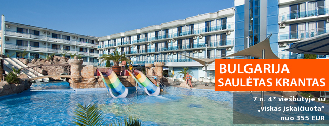 """Atsipūskite saulėtuose BULGARIJOS paplūdimiuose! Savaitė populiariame 4* viešbutyje KOTVA su """"viskas įskaičiuota"""" maitinimu - tik nuo 348 EUR! Kelionės data: 2019 m. gegužės 28 d."""