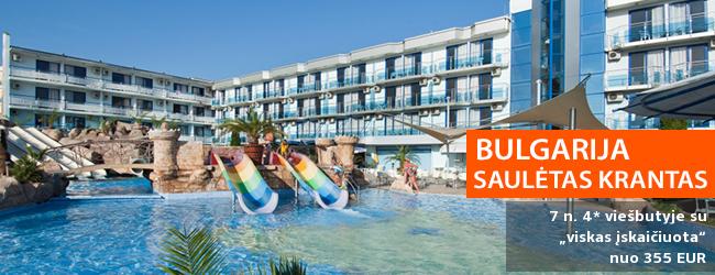 """Atsipūskite saulėtuose BULGARIJOS paplūdimiuose! Savaitė populiariame 4* viešbutyje KOTVA su """"viskas įskaičiuota"""" maitinimu - tik nuo 318 EUR! Kelionės data: 2019 m. birželio 4 d."""