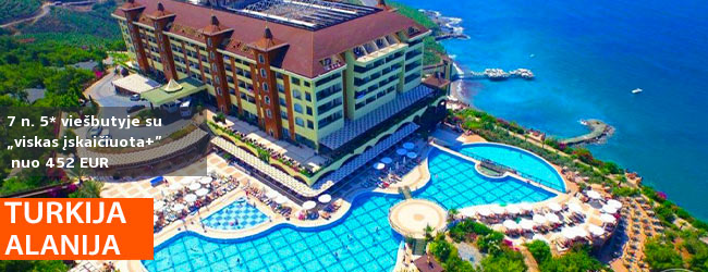 """Prabangus poilsis TURKIJOJE nepaprasto grožio vietoje! 7 n. puikiame 5* viešbutyje UTOPIA WORLD su """"ultra viskas įskaičiuota"""" - nuo 493 EUR! Kelionės data: 2017 m. spalio 20 d."""