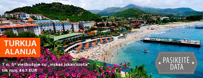 """Turiningai praleiskite atostogas žydros jūros pakrantėje TURKIJOJE! Savaitė gerame 5* viešbutyje KEMAL BAY su """"viskas įskaičiuota"""" - vos nuo 390 EUR! Išvykimo data: 2017 m. rugsėjo 23 d."""