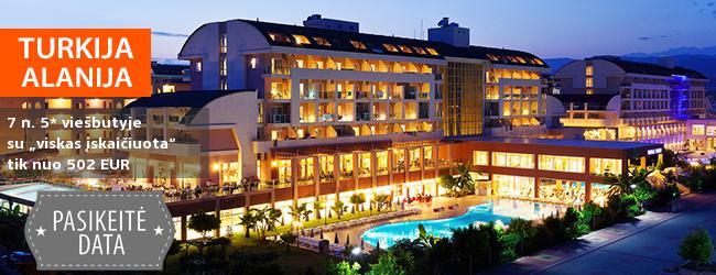 """Mėgaukitės atostogomis prie jūros TURKIJOJE, Alanijos regione! Savaitės poilsis jaukiame 5* viešbutyje su """"viskas įskaičiuota"""" - tik nuo 309 EUR! Išvykimo data: 2019 m. balandžio 27 d."""