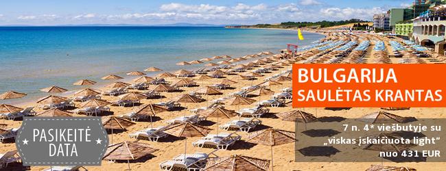 Atostogos paplūdimyje - šurmuliuojančiame BULGARIJOS kurorte! Savaitė gerame 4* viešbutyje su pusryčiais ir vakarienėmis - vos nuo 433 EUR! Kelionės data: 2018 m. rugsėjo 7 d.