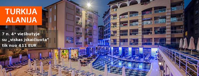 """Aktyvios atostogos pramogaujant ALANIJOS kurorte, Turkijoje! Savaitė labai gerai vertinamame 4* viešbutyje su """"viskas įskaičiuota"""" - tik nuo 383 EUR! Išvykimo data: 2018 m. rugpjūčio 14 d."""