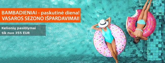 Vasaros kelionių išpardavimai! Tik šią savaitę - išskirtiniai pasiūlymai vasaros atostogoms! Šiandien: į Turkiją, Rodą, Siciliją ir Kiprą - tik nuo 315 EUR! Išvykimai: gegužės mėnesio datos