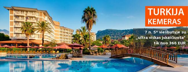 """Išskirtinis komfortas 5* viešbutyje AKKA ALINDA, Kemere, Turkijoje! Savaitė su daug pramogų ir """"ultra viskas įskaičiuota"""" - tik nuo 347 EUR! Kelionės data: 2018 m. balandžio 11 d."""