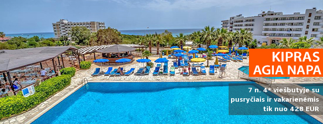 BAMBADIENIŲ PASIŪLYMAS! Poilsiaukite ten, kur visada šviečia saulė – Kipre! Savaitė Agia Napos kurorte, 4* viešbutyje su pusryčiais ir vakarienėmis - tik nuo 461 EUR! Kelionės data: 2018 m. rugpjūčio 30 d.