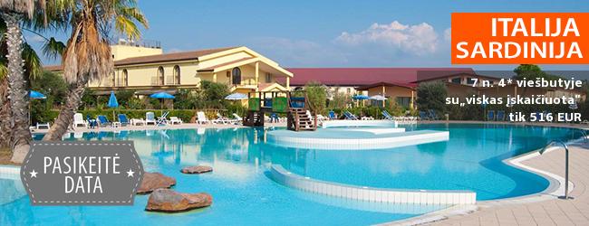 """Puikus pasiūlymas žirgų mylėtojams - pasakiškos atostogos teminiame viešbutyje SARDINIJOJE! Romantiška savaitė ant jūros kranto įsikūrusiame 4* viešbutyje su """"viskas įskaičiuota""""- tik 517 EUR! Kelionės data: 2018 m. rugsėjo 5 d."""
