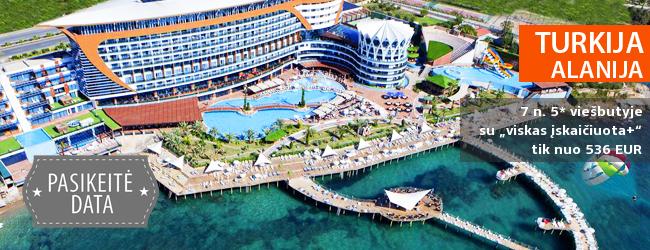 """Nuostabios atostogos mėgaujantis prabanga ant jūros kranto TURKIJOJE! 7 naktys puikiame 5* viešbutyje GRANADA LUXURY RESORT & SPA su """"viskas įskaičiuota+"""" - tik nuo 481 EUR! Kelionės data: 2019 m. gegužės 29 d."""
