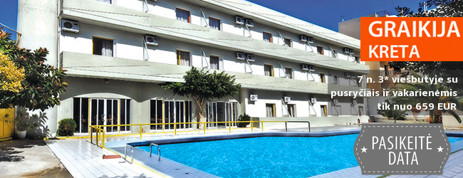 Pažinkite salos kultūrą ir pailsėkite KRETOS kurorte! Savaitės atostogos kokybiškame 3* viešbutyje su pusryčiais ir vakarienėmis - tik nuo 287 EUR! Kelionės data: 2019 m. gegužės 7 d.