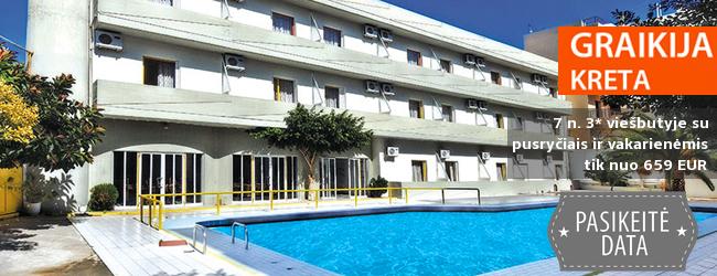 Pažinkite salos kultūrą ir pailsėkite KRETOS kurorte! Savaitės atostogos kokybiškame 3* viešbutyje su pusryčiais ir vakarienėmis - tik nuo 373 EUR! Kelionės data: 2018 m. rugpjūčio 30 d.