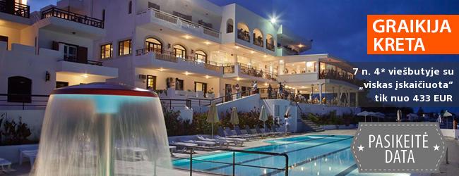 """Poilsis žavingoje KRETOJE su kerinčiu vaizdu į jūrą! Savaitės atostogos gerai vertinamame 4* viešbutyje su """"viskas įskaičiuota"""" - tik nuo 472 EUR! Data: 2018 m. rugsėjo 26 d."""
