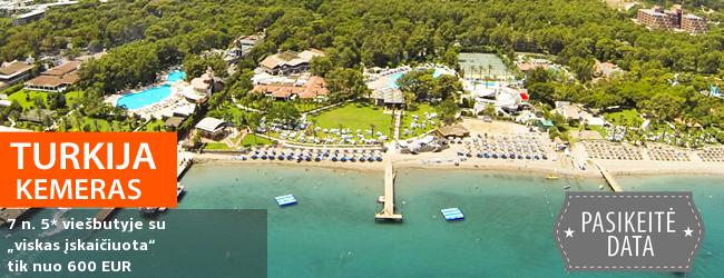 """Puikus pasiūlymas romantiškam poilsiui ant jūros kranto! Savaitės atostogos Kemero kurorte TURKIJOJE, 5* viešbutyje CLUB SALIMA su """"viskas įskaičiuota"""" - nuo 451 EUR! Kelionės data: 2019 m. gegužės 15 d."""