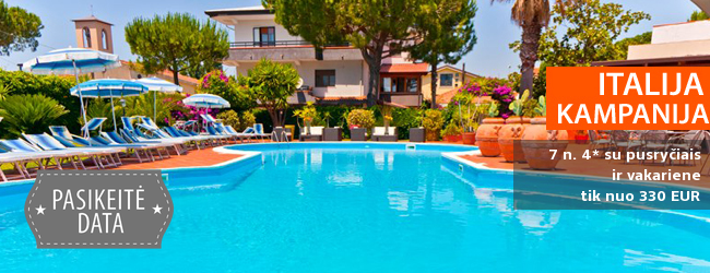 Geras kainos ir kokybės santykis - atostogos žavingame ITALIJOS Kampanijos regione! Savaitė elegantiškame 3* viešbutyje su pusryčiais ir vakariene - tik nuo 479 EUR! Kelionės data: 2018 m. rugsėjo 18 d.