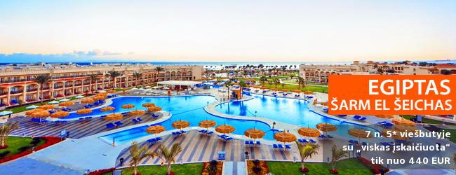 """Mėgaukitės komfortu EGIPTO Šarm el Šeicho kurorte! Savaitė 5* viešbutyje su vandens kalneliais ir maitinimo tipu """"24 h viskas įskaičiuota"""" - vos nuo 466 EUR! Data: 2018 m. gruodžio 7 d."""