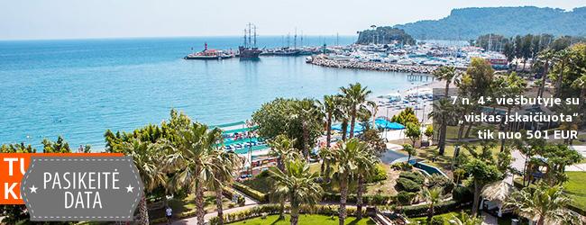 """Aktyviai poilsiaukite Turkijoje! 8 naktys Kemero mieste įsikūrusiame populiariame 4* viešbutyje ant jūros kranto su """"viskas įskaičiuota"""" - tik nuo 543 EUR! Kelionės data: 2017 m. rugpjūčio 16 d."""