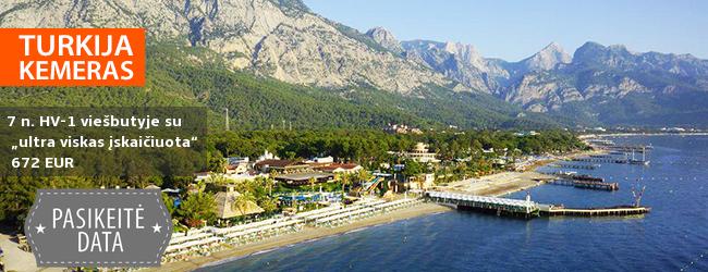"""Nesibaigiančios pramogos žalumos apsuptyje KEMERE, Turkijoje! Savaitės atostogos labai gerame viešbutyje AMARA CLUB MARINE NATURE ant jūros kranto su """"ultra viskas įskaičiuota"""" - tik nuo 509 EUR! Kelionės data: 2017 m. spalio 11 d"""