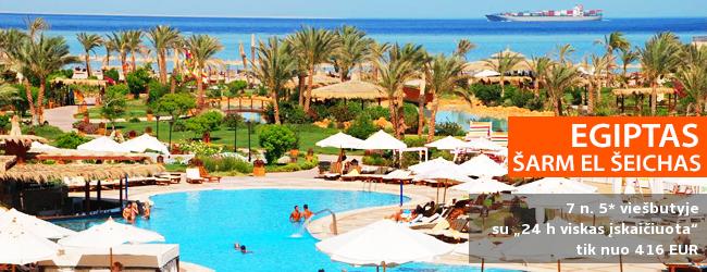 """Ekonomiškas poilsio variantas EGIPTO Šarm el Šeicho kurorte! Savaitė 5* viešbutyje su vandens kalneliais ir maitinimu """"24 h viskas įskaičiuota"""" - vos nuo 385 EUR! Data: 2017 m. gruodžio 5 d."""