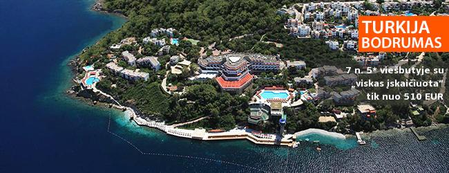 """BAMBADIENIO PASIŪLYMAS! Aktyvaus poilsio mėgėjams ir šeimoms puikiai tinkančios atostogos TURKIJOJE, Bodrume! Savaitė 5* viešbutyje ant jūros kranto su """"viskas įskaičiuota"""" - tik nuo 428 EUR! Kelionės data: 2018 m. gegužės 18 d."""