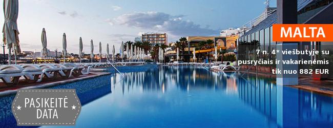 Žavios atostogos MALTOJE ant jūros kranto! Savaitė labai gerai vertinamame 4* viešbutyje su pusryčiais ir vakarienėmis - vos nuo 386 EUR! Išvykimo data: 2018 m. balandžio 5 d.
