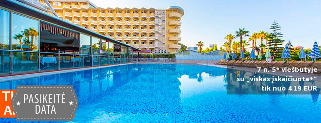 """Mėgaukitės aukštos klasės komfortu TURKIJOJE! Savaitė 5* viešbutyje su """"viskas įskaičiuota+"""" - tik nuo 391 EUR! Išvykimas: 2018 m. rugsėjo 11 d."""