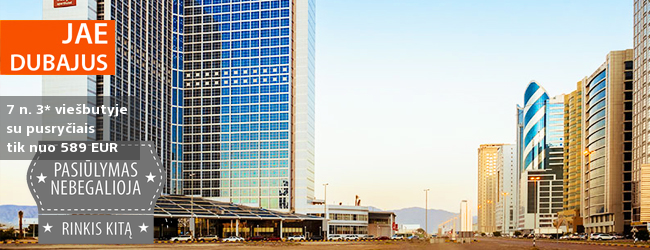 Išskirtinės atostogos dviese pramogaujant Jungtiniuose Arabų Emyratuose! Savaitė moderniame 3* viešbutyje su pusryčiais - dabar tik 385 EUR! Kelionės data: 2018 m. vasario 21 d.