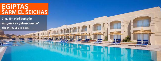 """Rytietiško stiliaus atostogos su vandens parku EGIPTE! Savaitės poilsis 5* viešbutyje prie koralinio paplūdimio su maitinimu """"viskas įskaičiuota"""" - vos nuo 455 EUR! Data: 2019 m. sausio 18 d."""