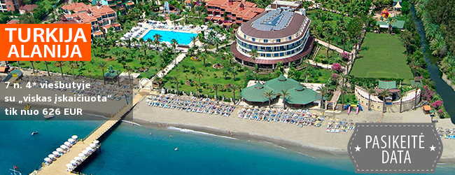 """Nepamirštamos atostogos žalioje oazėje TURKIJOJE! Savaitės poilsis gerame 4* viešbutyje Alanijoje su """"viskas įskaičiuota+"""" - vos nuo 367 EUR! Išvykimo data: 2018 m. balandžio 29 d."""