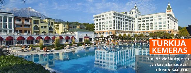 """Prabangios atostogos ant jūros kranto KEMERE, Turkijoje! Savaitės poilsis puikiame 5* viešbutyje AMARA DOLCE VITA LUXURY su """"ultra viskas įskaičiuota"""" - tik nuo 504 EUR! Kelionės data: 2018 m. balandžio 19 d."""