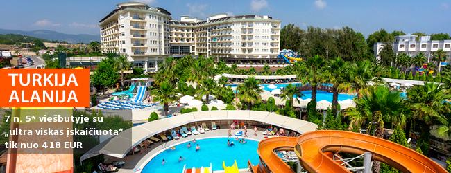 """Aktyvios pramogos ir poilsis prie jūros TURKIJOJE! Savaitės poilsis puikiai vertinamame 5* viešbutyje MUKARNAS SPA RESORT """"ultra viskas įskaičiuota"""" - vos nuo 376 EUR! Išvykimo data: 2018 m. balandžio 11 d."""