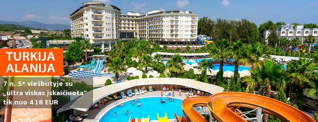 """Aktyvios pramogos ir poilsis prie jūros TURKIJOJE! Savaitės poilsis puikiai vertinamame 5* viešbutyje MUKARNAS SPA RESORT """"ultra viskas įskaičiuota"""" - vos nuo 383 EUR! Išvykimo data: 2018 m. balandžio 12 d."""