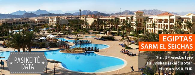 """Šiltos atostogos EGIPTO Šarm el Šeicho kurorte! Savaitė 5* viešbutyje JAZ MIRABEL BEACH RESORT prie koralinio paplūdimio su maitinimu """"viskas įskaičiuota"""" - vos nuo 513 EUR! Data: 2018 m. gruodžio 6 d."""