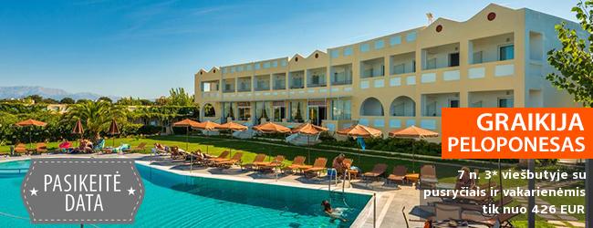 Atostogos ramybės ozaėje  Graikijos pusiasalyje - PELOPONESE! Savaitė labai gerai vertinamame 3* viešbutyje ant jūros kranto su pusryčiais ir vakarienėmis - tik nuo 377 EUR! Kelionės data: 2018 m. birželio 2 d.