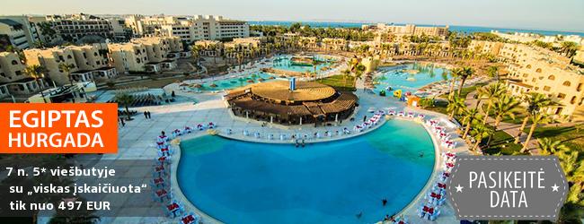 """Puikus pasiūlymas ieškantiems ekonomiško poilsio Hurgadoje, EGIPTE! Savaitė 5* viešbutyje prie jūros su """"viskas įskaičiuota"""" - tik nuo 369 EUR! Išvykimas: 2018 m. gruodžio 13 d."""