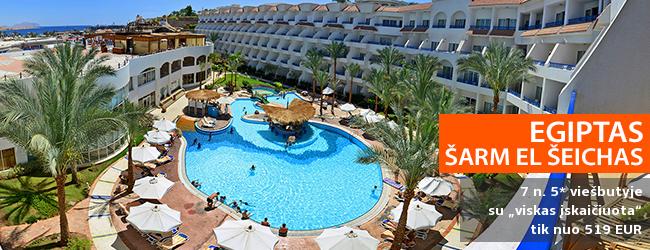 """Aktyvaus poilsio mėgėjams -  puikios atostogos kurorto centre EGIPTE! Savaitė 5* viešbutyje su nuosavu smėlio paplūdimiu TROPITEL NAAMA BAY ir """"viskas įskaičiuota"""" - vos nuo 417 EUR! Data: 2019 m. sausio 18 d."""