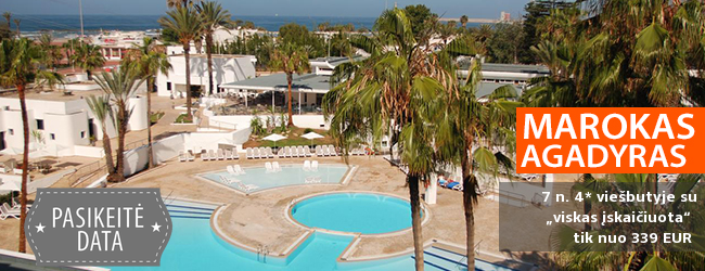 """Egzotiškos atostogos MAROKE, Agadyre! Savaitė kokybiškame 4* viešbutyje su """"viskas įskaičiuota"""" - tik nuo 383 EUR! Kelionės data: 2018 m. gegužės 2 d."""