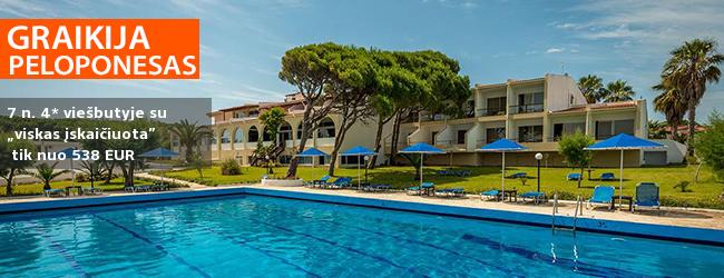 """Jaukus poilsis Graikijos pusiasalyje - PELOPONESE! Savaitė  prie paplūdimio įsikūrusiame 4* viešbutyje PAVLINA BEACH su """"viskas įskaičiuota"""" - tik nuo 494 EUR! Kelionės data: 2018 m. rugsėjo 15 d."""